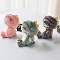 bonito bonecas chaveiro venda por atacado-Nova Marca Bonito Pequeno Dinossauro Jurássico Boneca De Pelúcia Fragrância Stripe Dinossauro Toy Plush Key Pingente Boutique Máquina de Boneca