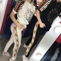 kapüşonlu kısa kollu gömlekler toptan satış-Kadın FF Mektup Eşofman Yaz Sıcak Sondaj Kısa Kollu Kapşonlu Tişört + Pantolon Iki Parçalı Set Rahat Spor Kıyafetleri Jogging Yapan Takım C5601