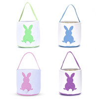 Wholesale cute eco bags for sale - Group buy Rabbit Printing Canvas Bag Kid Gift Bucket Party Supplies Practical Cute Easter Theme Storage Basket Multi Color dm ZZ