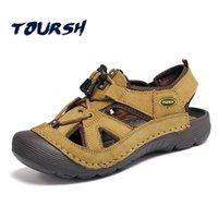 ingrosso scarpe da passeggio impermeabile in pelle-TOURSH Vera pelle all'aperto Sandali Scarpe impermeabili Scarpe estive Uomo Camminare Trekking Spiaggia Sandali estivi Uomo Size10 # 56861