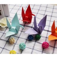 origami para cumpleaños al por mayor-50 piezas de papel hecho a mano de la grúa decoración de la boda fiesta de cumpleaños Diy Decoraciones Colores de compromiso Origami Crane Party Supplies