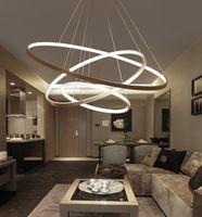 weißgoldkreis anhänger großhandel-Moderne acryl led pendelleuchten kreis ringe kronleuchter weiß / schwarz / glod farbe für büro esszimmer wohnzimmer