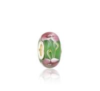 pulseras rosas verdes para niñas al por mayor-Shining Pink Floral Green Murano Glass Beads S925 Silver Core Charms Fit Pandora Pulseras Collar DIY Chica Accesorios de joyería