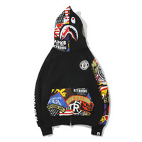 Wholesale sections sweatshirt hoodies for sale - Group buy Mens white designer hoodie sweatshirt sweat coat pullover winter youth shark graffiti terry color thin section hooded zipper sweater coat