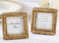 bebek duş reçinesi toptan satış-Toptan düğün iyilik ve düğün hediyesi-Yeni Stil Reçine Altın Tüy Çerçeve Bebek duş Iyilik Fotoğraf Çerçevesi