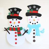 iç film toptan satış-DIY için Noel Dekorasyon Noel Kardan Adam Asma Süsler Hediyeler Yılbaşı Kapı Duvar İç decorationT2I5467 Asma Keçe