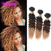 ombre bakire saç toptan satış-Brezilyalı Virgin İnsan Saç Ombre 1B / 4/27 Derin Dalga 3 Paketler Saç Uzantıları Çift Atkı Derin Kıvırcık Üç Tonları 1b 4 27