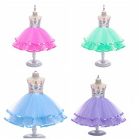 Wholesale faster ball christmas resale online - Halloween baby girls unicorn cosplay dress Embroidery Flower children ballgown kids costume tutu skirts fast shipping free