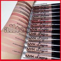 Wholesale new nyx lip lingerie for sale - Group buy New Makeup Lips NYX Lip Lingerie Matte Lip Gloss Liquid Matte Lipstick Lip Gloss with Colors