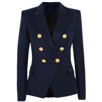trajes de la marina para las mujeres al por mayor-Mujeres 2019 productos competitivos Traje de abrigo Estilo femenino Metal cabeza de león Botón cruzado traje azul marino