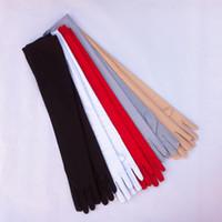 luvas longas de algodão preto venda por atacado-Luvas Nova Alta Elastic Algodão mercerizado Alongar protectores solares Summer Long Design Anti-UV Luvas longas luvas pretas vermelhas