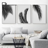 Wholesale wall art black white tree canvas for sale - Group buy Black White Plant Palm Tree Leaves Posters Prints Minimalist Wall Art Canvas Painting Nordic Style Wall Picture for Living Room