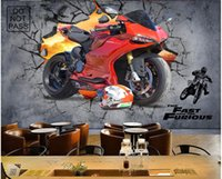 Wholesale custom motorcycle bars for sale - Group buy 3d wallpaper on a wall custom photo mural Industrial wind motorcycle wall bar background wall Home decor living Room wallpaper for walls d