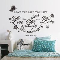 ingrosso fiori di vite di farfalla-Nuova farfalla fiore della vite inglese motto Bob Marley wall sticker adesivo