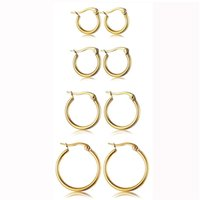 Wholesale large gold silver hoop earrings resale online - Hot Cheap Stainless Steel Hoop Earrings mm mm Exaggerated large Round Buckle Hoop Earring for Women Jewelry Accessories Gift