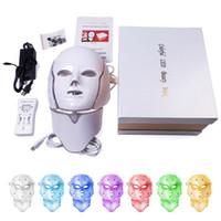 инструменты для лечения кожи оптовых-DHL доставка 7 цветов свет светодиодные маски для лица с шеи омоложение кожи Уход за лицом Красота Анти акне терапия отбеливание инструмент