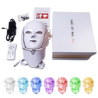 mascarillas faciales led al por mayor-Envío de DHL 7 colores de luz LED máscara facial con rejuvenecimiento de la piel del cuello tratamiento facial cuidado belleza anti acné terapia blanqueamiento instrumento