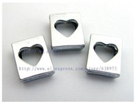 slaytlar bilezik toptan satış-Toptan fiyat 20 adet 8mm Hollow Kalp Slayt Charms DIY Charms Fit 8mm Pet Yaka Anahtarlık Bilezik