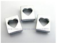 colgante de la granja al por mayor-Precio al por mayor 20 unids 8 mm Hollow encantos de la diapositiva del corazón Encantos de bricolaje Fit 8 mm Collar de la mascota llavero pulsera