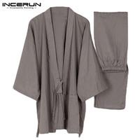 pantalones de satén chino al por mayor-Hombres Kimono Homewear Estilo japonés Color sólido Algodón Tops y pantalones Conjuntos Hombres Pijamas Sueltas trajes de dormir ocasionales más tamaño