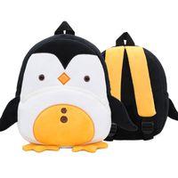 bolsas de hombro de peluche al por mayor-35 diseños niños mochilas de peluche niños 3D Animal de dibujos animados pingüino mochila Kindergarten bebé niñas niños lindo bolsas escolares