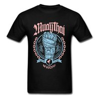 muay thai short livraison gratuite achat en gros de-Muay Thai Fist Tees Famille O-cou Casual Manches Courtes 100% Coton T-Shirt Homme Normal Tee Shirts