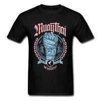 muay thai shorts envío gratis al por mayor-Muay Thai Puño Camisetas Familia O-cuello Casual Manga corta 100% algodón Hombre camiseta Camisetas normales Envío gratis