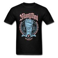 muay thai şort ücretsiz gönderim toptan satış-Muay Thai Yumruk Tees Aile O-Boyun Rahat Kısa Kollu% 100% Pamuk Erkek T-Shirt Normal Tee Gömlek Ücretsiz Kargo