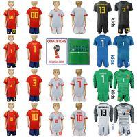 casillas jersey venda por atacado-Espanha Juventude Conjuntos de Jersey de Futebol Crianças PIQUE BUSQUETS THIAGO DE GER CASILLAS Crianças Camisa De Futebol Kits Com Calça Curta