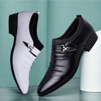 vente de sandales en robe en cuir achat en gros de-Hot Sale-designer été sandales hommes marque de luxe glisser sur des chaussures oxford pour hommes bout pointu robe chaussures en cuir mariage chaussures homme italie