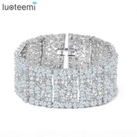 Wholesale african silver bangle bracelets resale online - LUOTEEMI New Big Luxurious Jewelry Full Shining Cubic Zircon White Gold Color Link Chain Bracelet for Women Wedding Bangle
