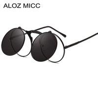 yukarı punk toptan satış-Aloz micc vintage flip up yuvarlak güneş erkekler yeni punk metal güneş gözlükleri kadınlar kadın moda gözlük óculos de sol a025