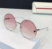 daire gözlük camları toptan satış-Lüks Kadınlar Tasarımcı Güneşlikler Metal Büyük Yuvarlak Çerçeve Gözlük Şeker Renk Lens Daire Gözlük UV400 koruma Kutusu Ile