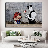 Wholesale unframed picture frames online - Banksy Super Mario Wallpaper HD Wall Art Canvas Posters Prints Painting Wall Pictures For Office Living Room Home Decor Artwork