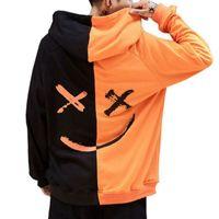 ingrosso giacche per adolescenti-Felpa da uomo Felpa con cappuccio da uomo Teen Contrast Colour Smily Face Fashion Stampa Felpe Felpa Jacket Pullover Autunno Inverno