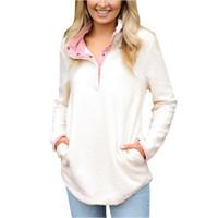 bayanlar fermuarlı kapşonluklar toptan satış-Yeni Kış Bayan Hoodies Moda kadın Uzun Kollu Polar Kazak Bayanlar Sıcak Zip Katı Bulanık Hoodie Kazak Kadın Sıcak satış