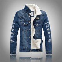 nouveau sweat à capuche coréen slim achat en gros de-Hiver style nouveau style de style coréen Veste en jean mode homme Slim Fit Jeans épais manteau Berber Fleece cheveux hommes velours à capuche