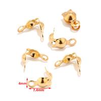 bouchons à sertir achat en gros de-Bouts de perle de sertissage d'extrémité d'acier inoxydable de la couleur d'or 304 pour la fabrication de bijoux