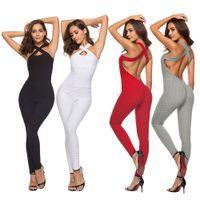 nylon bodysuit al por mayor-Mujeres Yoga Jumpsuit Butt Push Up Leggings Verano Backless Sports Body Best Sale-WT