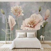 fondo de pantalla de loto en casa al por mayor-Papel de parede personalizado 3d, mural de fondo de textura de loto para sala de estar hotel decoración del hogar papel tapiz impermeable