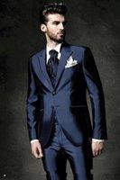 ingrosso pantaloni lucidi blu-Stile classico Due bottoni Shiny blu scuro Smoking dello sposo Risvolto Groomsmen Best Man Blazer Mens Abiti da sposa (Giacca + Pantaloni + Vest + Tie)