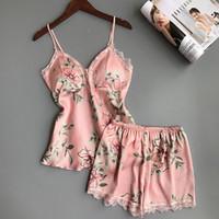 çiçekler cüppesi toptan satış-Sexy Lingerie Kadın Çiçek Pijama Kolsuz Kayış Gecelikler Dantel Saten Cami Üst Setleri Iç Çamaşırı Yeni NightGowns Pijama