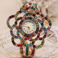 Wholesale clock charms resale online - Watches Women Flower Band Hollow Out Bangle Crystal Quartz Bracelet Watch Jewelry Charm Ladies Girl Clocks Relogio Feminino