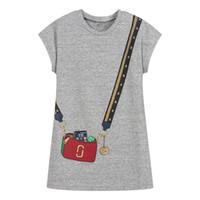 4t kleidung großhandel-Mädchen Sommerkleid mit Tierapplikationen European American Style Prinzessin Kleid Floral Prinzessin Kleid Designer Kinder Baumwollkleidung
