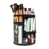 estantes cosméticos al por mayor-360 Organizador de maquillaje giratorio, estante de almacenamiento de titular de hilado ajustable carrusel de maquillaje bricolaje, maquillaje grande Caddy estante cosméticos negro