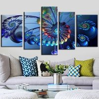 Wholesale peacock canvas prints resale online - 5pcs set Unframed Peacock Feathers Flower Figure Oil Painting On Canvas Wall Art Painting Art Picture For Home Decor