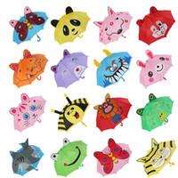 kinder regenschirm junge großhandel-3D Ohr Kinder Regenschirm für Mädchen Jungen Niedlichen Cartoon Kinder Regenschirm Kreative Langen Griff Tier Regenschirm Schule Geburtstagsgeschenk
