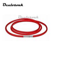 collar de cadena de cuerda de 1 mm al por mayor-1 mm 1.5 mm 2 mm 3 mm Collar Cordón Cuerda de cera Cuerda de cuero Collar de cadena de acero inoxidable 316l Broche Diy Accesorios de joyería