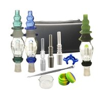 Wholesale glass dab dish online - Mini Nector Kit mm mm Joint Dab Straw Small Glass Water Pipes Oil Rigs With Titanium Nail Glass Bong Dabber Dish