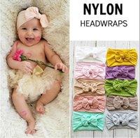 arcos de cabelo de nylon do bebê venda por atacado-Arco bebê headband doce cor hairband nylon grande arco acessórios para o cabelo Foto adereços para 21diferentes cores
